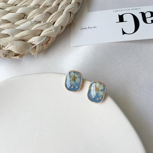 Серьги Флора, синие