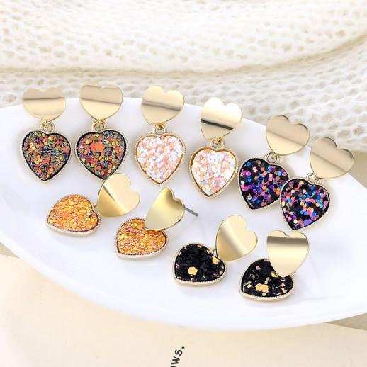 Серьги Двойное сердце, разноцветные