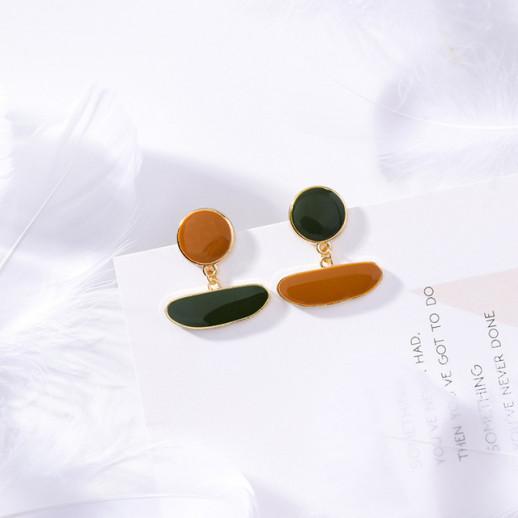 Асимметричные серьги Оливия, оранжевые