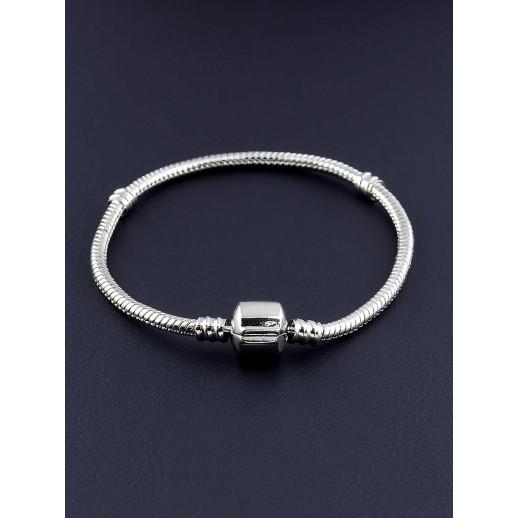 Браслет 'Pandora style' 18 см. (родий)